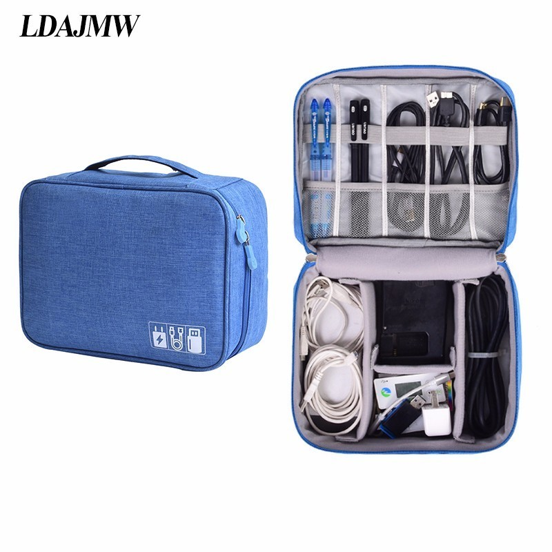 LDAJMW Waterproof iPad Organizer USB Data Cable Earphone Wire Pen Power Bank Travel Storage Bag Kit Case Digital Gadget Devices