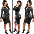 Plus Size Sexy Club Dress Women Clothing Black Snakeskin Faux Leather Zipper Bodycon BBW 2016 Summer New Bandage Pencil Dress