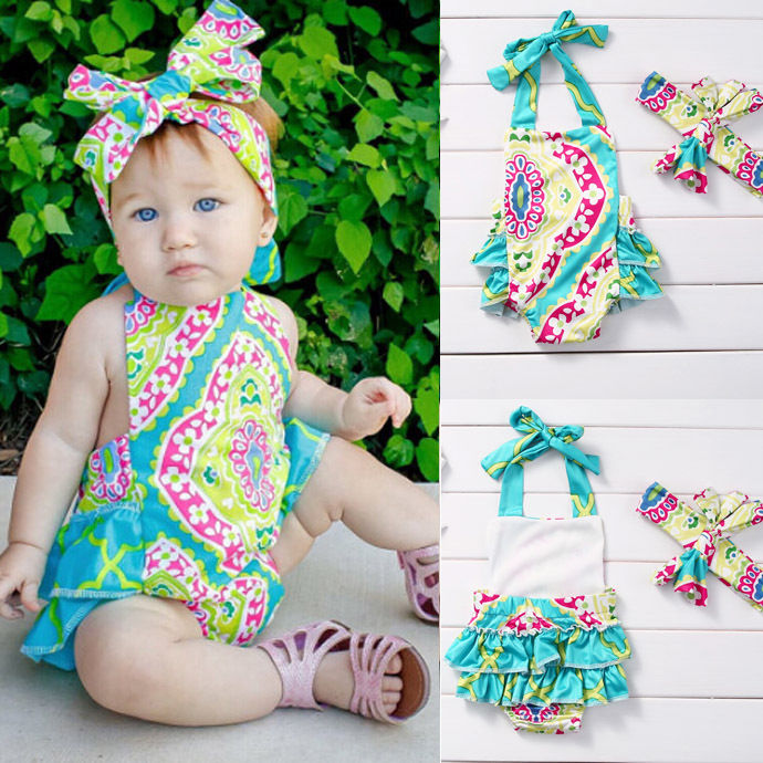 Newborn Baby Girls Toddler Floral Romper + Headband 2Pcs Sets Outfit Summer Clothes