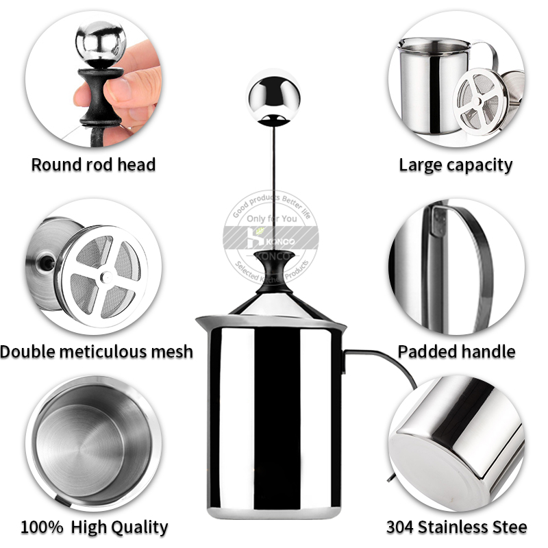 Konco Handheld Milk Frother Portable and Powerful Foam Maker for Make Cappuccinos, Lattes, Bulletproof and Keto Coffee Handhel
