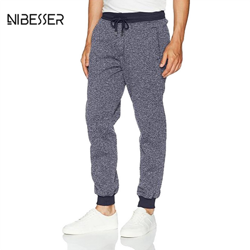 NIBESSER Fashion Pants Men Hit Breathable Sweat Pants Drawstring Loose Full Pant Quality Soft Casual Elastic Legging New Trouser