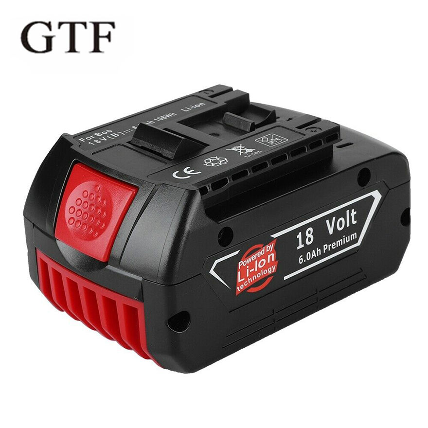 GTF For <font><b>Bosch</b></font> <font><b>18V</b></font> 6000mAh Power Tools <font><b>Battery</b></font> Lithium Rechargeable <font><b>Batteries</b></font> Pack Cordless for <font><b>Bosch</b></font> Drill BAT609 BAT618 JSH180 image