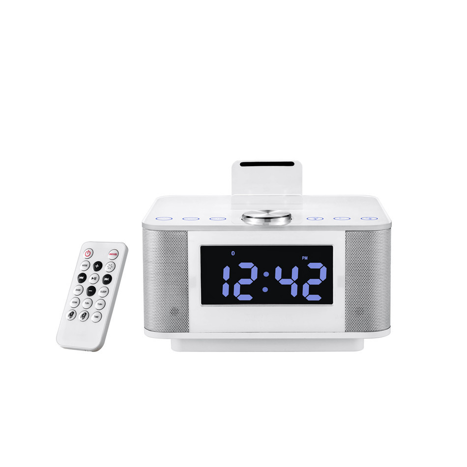 Digital FM Radio Alarm Clock Bluetooth Speaker Music Dock Charger Station Stereo Wireless Speakers for iPhone Samsung kubei 290 wireless bluetooth v3 0 speaker w fm radio black