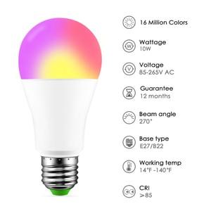 Image 5 - Nowa bezprzewodowa Bluetooth 4.0 inteligentna żarówka lampa oświetleniowa domu 10W E27 magia RGB + W LED zmień kolor żarówka ściemniania IOS /Android