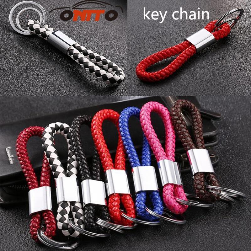 Car Styling Braided Leather Strap Keychain Screwdriver Car Key Chain Ring 100pcs/set car key chain