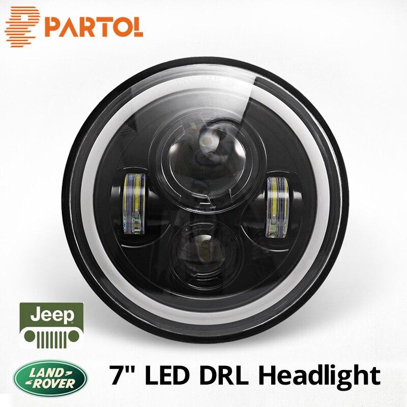 Partol 7 inch LED Headlight DRL Halo Angle Eyes Led Headlamp 12v For Jeep Wrangler TJ JK LJ unlimited 1997 1998 1999 2000-2015 1 set black projector headlight 7 inch auto headlamp with halo ring for jeep wrangler unlimited rubicon sahara jk harley