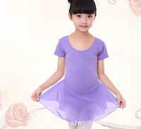 Pink Purple Rosy Ballet Tutu Short Sleeve Clothing Dance Dress Chiffon For Children Dance Leotard Wear