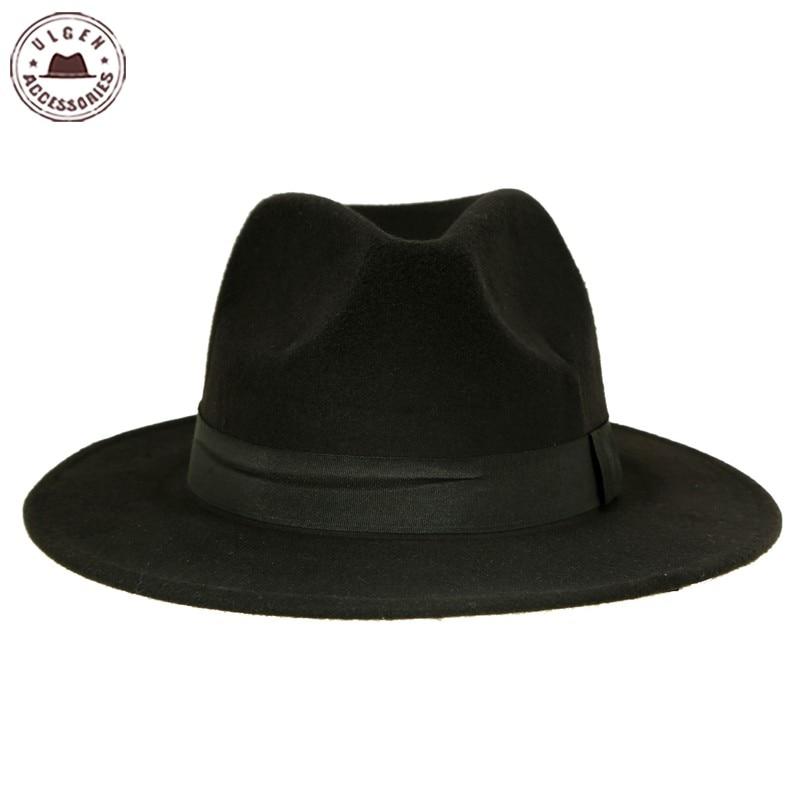 Vintage unisex Wolle Jazz Hüte große Krempe Filz Cloche Cowboy - Bekleidungszubehör - Foto 5