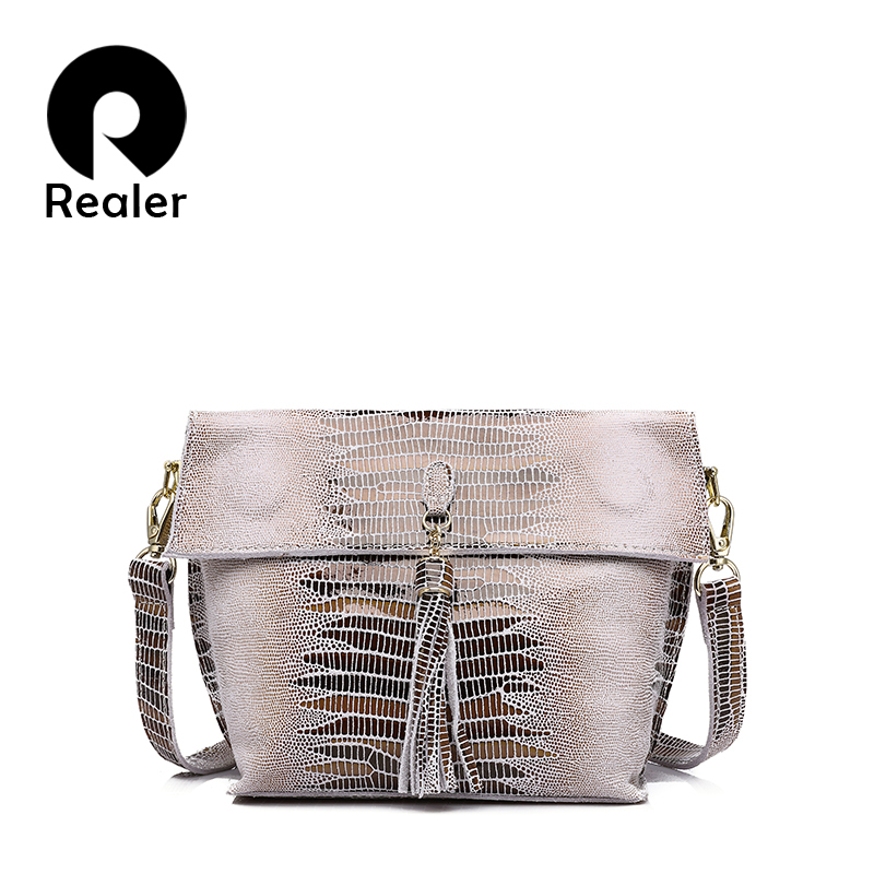 REALER women messenger bags genuine leather Shoulder crossbody bag ladies handbags tassel serpentine female student small purse zency new women genuine leather shoulder bag female long strap crossbody messenger tote bags handbags ladies satchel for girls