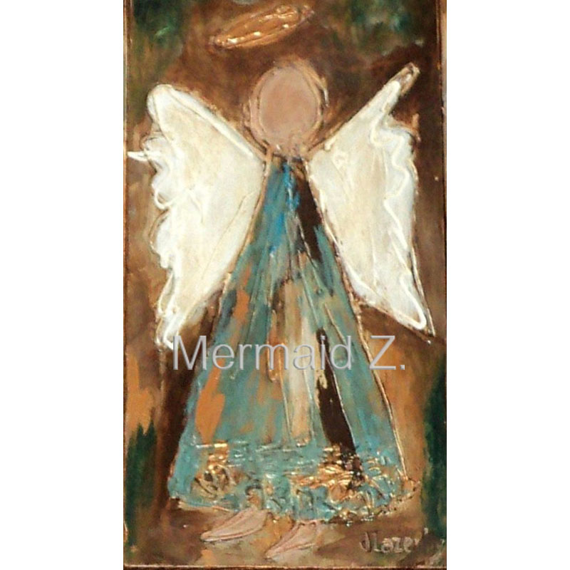 Hand painted spring angel modern palette knife thick oil for Hand painted portraits from photos