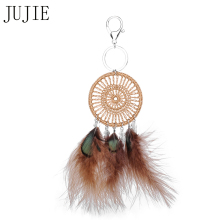 JUJIE Brown Feather Keychains Alloy Ring High Quality Fashion Bijoux Car key Accessories Mobile Phone Pendant