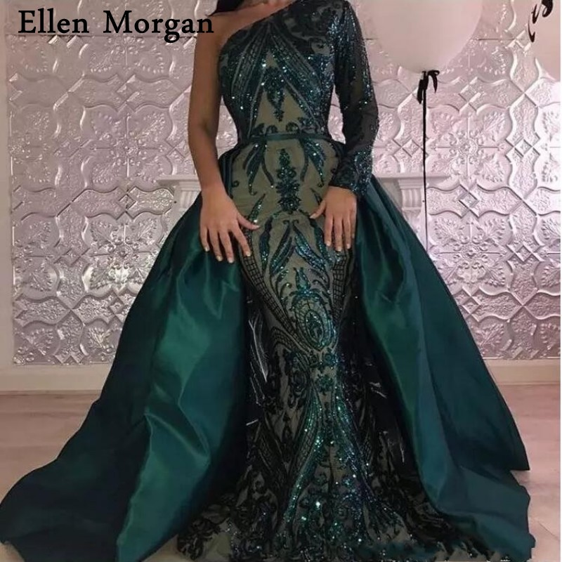 Saudi Arabia Long Sleeves Mermaid   Evening     Dresses   2019 Dubai Kaftan Muslim Dark Green Glitter Fabric Party Gowns for Women Wear