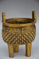 12 Cm COLLECTION DECORATION CHINESE BRASS HANDMADE INCENSE BURNER