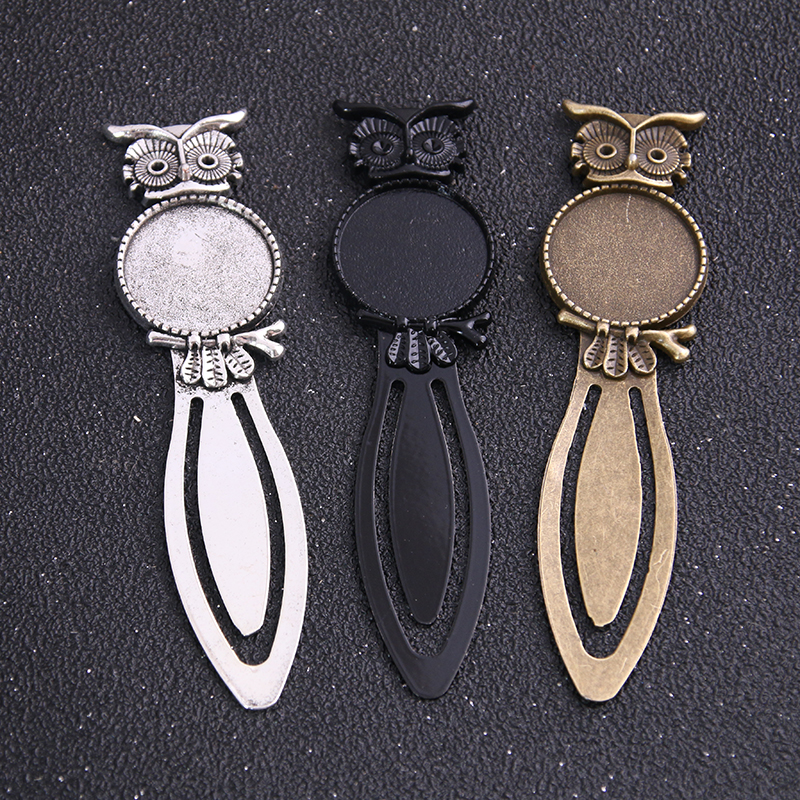 2pcs Three Color 20mm Cameo Steel Animal Owl Bookmarks Round Cabochon Settings Jewelry Blank Charm