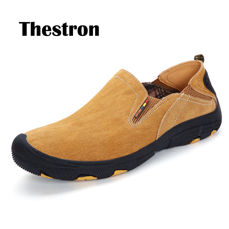 Thstron Mens Loafers Leather Casual Shoes Comfortable Anti-Slip Pig-skin Pig Suede Designer Autumn Spring