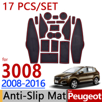 for Peugeot 3008 MK1 2009 2016 Anti Slip Rubber Cup Cushion Groove Mat 2010 2012 2015 2016 Accessories Car Styling Sticker