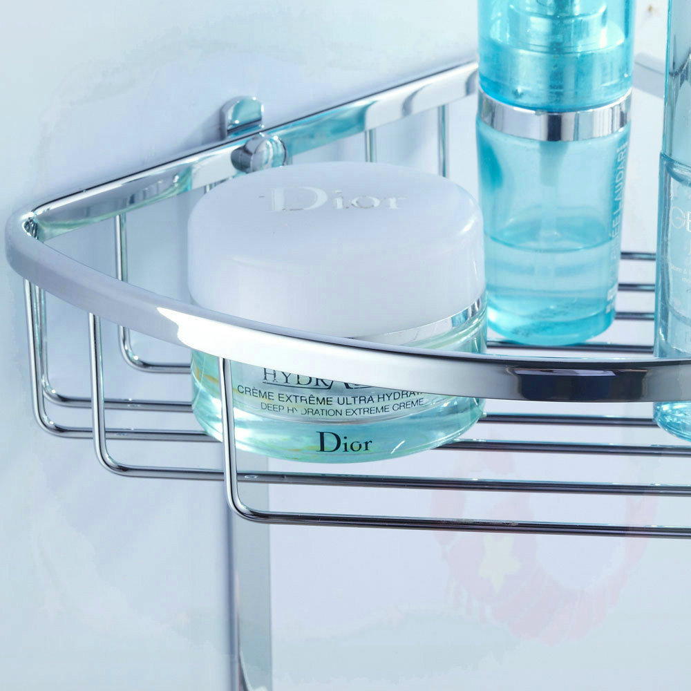 Double Layer Triangle Shelf With Hook Solid Brass Bathroom Shelf ...