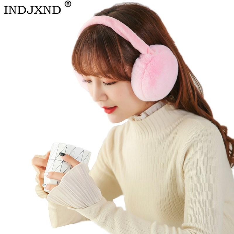 INDJXND Adult Winter Earmuffs Warm Female Cotton Ear Warmers Christmas Gifts Fur Earmuffs Women Imitation Rabbit Fur Headband