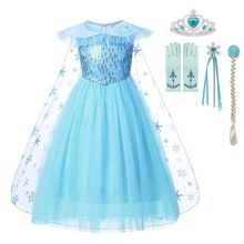 MUABABY Girls Elsa Dress with Cloak Summer Sequins Swing Snow Queen Party Princess Costume Children Girl Halloween Fancy Costume girl dress summer brand toddler girls clothes lace sequins princess anna elsa dress snow queen halloween party role play costume