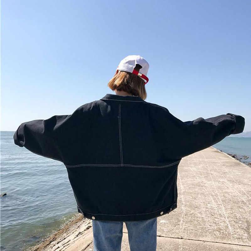 النسخة الكورية فضفاض أسود ميناء الرياح الدنيم سترة النساء فقرة قصيرة الربيع الخريف جديد الطلاب المتناثرة البرية معطف المد X148