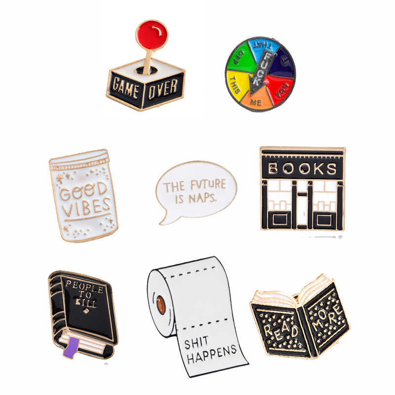QIHE JEWELRY Book Pin Book brooches Good vibes badges Read more lapel pins Funny quote jewelry Book pins collection