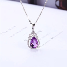 wholesale luxury trendy 925 sterling silver natural amethyst gemstone pendant necklace for wedding engagement
