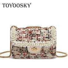 TOYOOSKY 2019 Fashion New Womens Designer Handbag INS Quality Woolen Plush Women bag Pearl Chain Shoulder Messenger Square