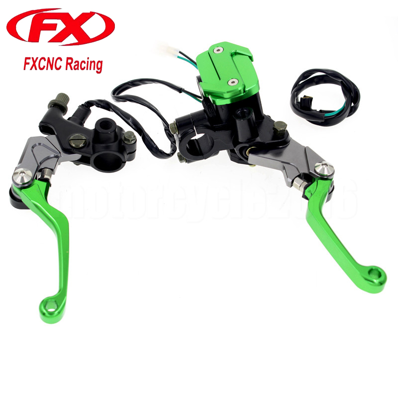 7/8 22mm Motocross Dirt Bike Cylinder Reservoir Brake Clutch Lever For Kawasaki KLX250 D-TRACKER	1993-2013 Hydraulic Brake Lever cnc front brake cylinder reservoir cap fit kawasaki kx65 kx80 85 100 kx125 kx250 kx250f kx450f motocross off road dirt bike