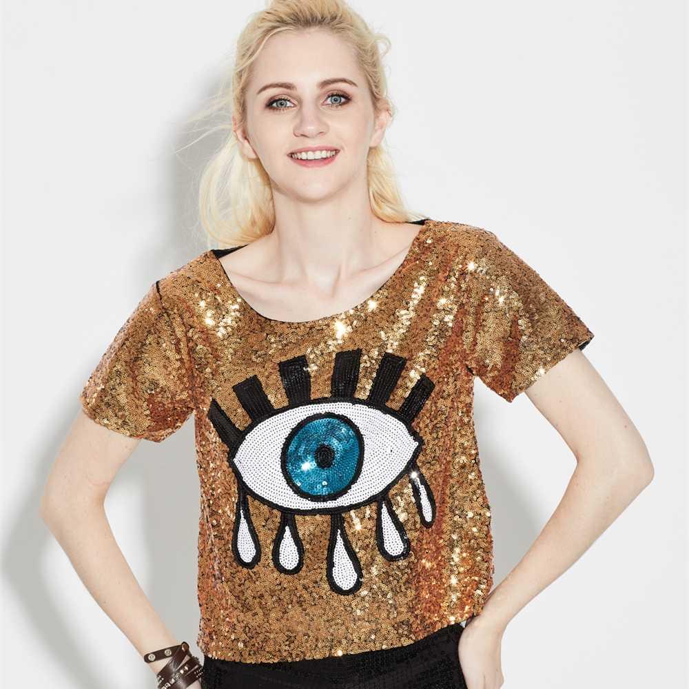 Women Summer Short Sleeve Sequins Evil Eye Sparkle Glitter Hip Hop T-Shirt  Crop Top f6411718f881