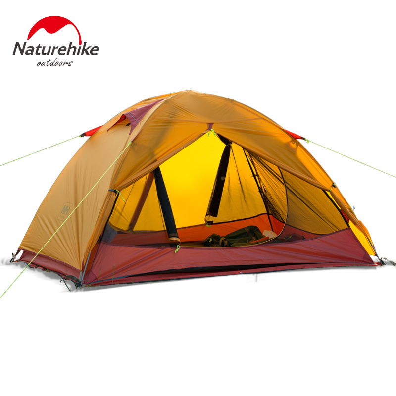 Naturehike 2 person Windproof Waterproof Anti UV Double Layer Tent 20D Silicone Ultralight Outdoor Hiking Camping Tent Tourist hewolf 2persons 4seasons double layer anti big rain wind outdoor mountains camping tent couple hiking tent in good quality