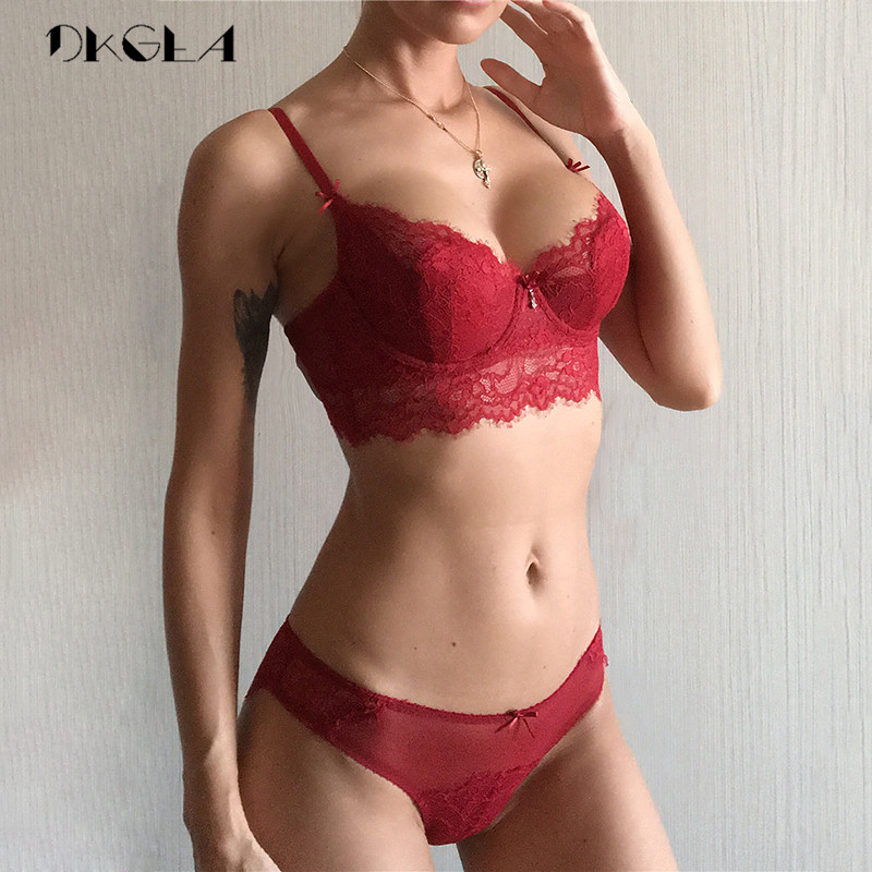 Hollow Sexy   Bra     Set   Plus Size C D Cup Brassiere Green Women Lingerie   Sets   Embroidery   Bras   Eyelash Lace Underwear   Set   Transparent