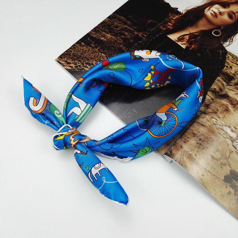 55x55cm Small Square 100% Pure Silk   Scarf   ,Women Ladies Fashion Print Silk Twill   Scarves     Wraps   Necktie Clothing Accessory