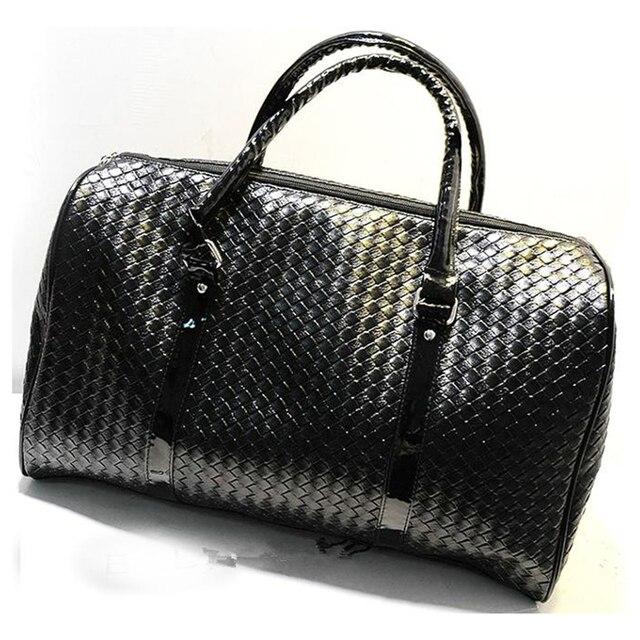 Вязание Узор черная кожа большая дорожная сумка Мужчины женщины багажа дорожные сумки Duffle Сумка maletas viaje de sac де вояж 688 т