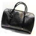 Tricô Padrão preto das mulheres Dos Homens de couro grande saco de viagem bagagem sacos de viagem Duffle Bag saco de viagem maletas de viaje 688 t