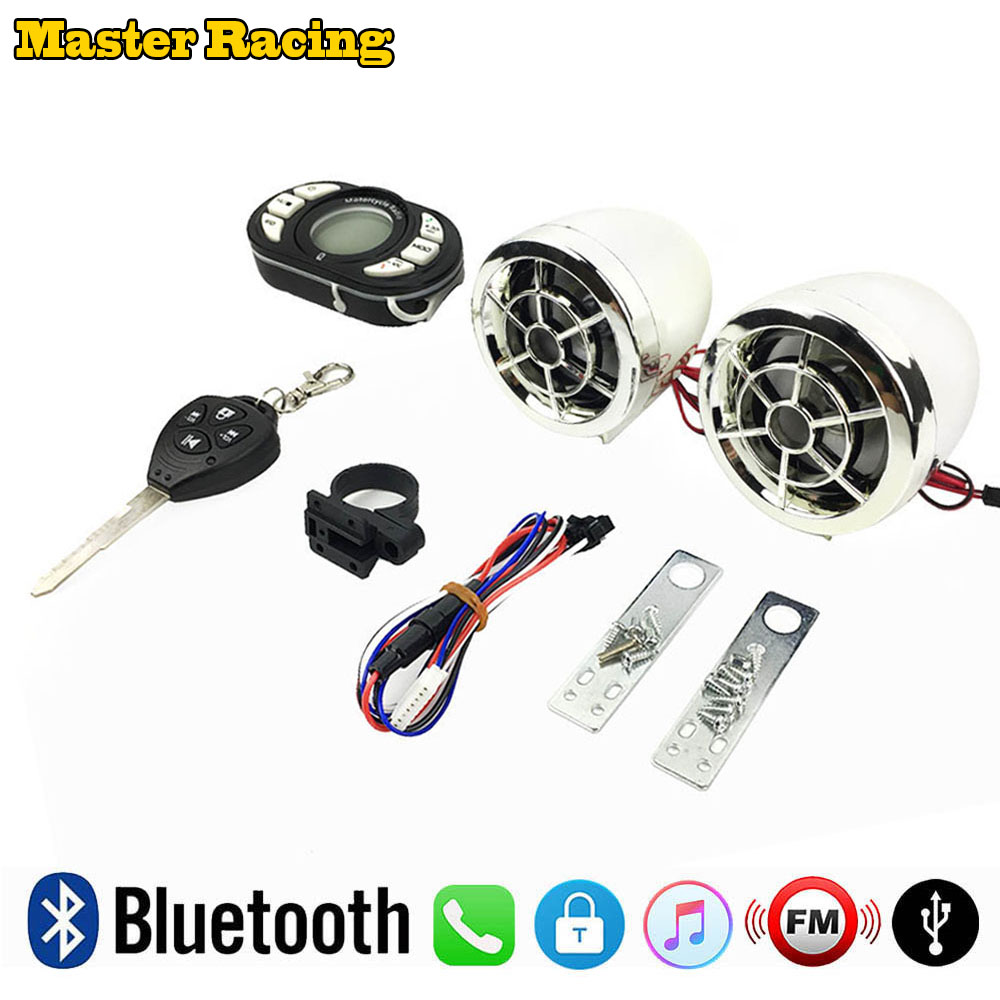 Motorcycle Bluetooth MP3 Music Player Speakers FM Radio Moto Scooter Security Anti theft Alarm USB Playing Phone Call Cut off