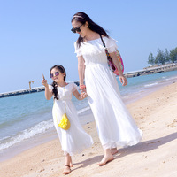 2018 Off Shoulder Family Look Mother Daughter Dress White Ruffle Summer Family Matching Outfit Vestidos for Girls Women Dresses