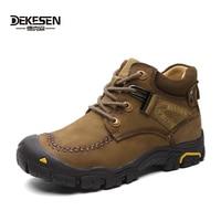 DEKESEN Wearproof Men Winter Boots Genuine Leather Snow Boots Waterproof Outdoor Ankle Winter Shoes Men Anti