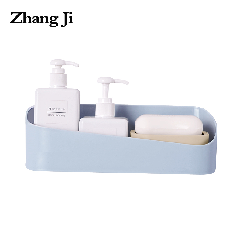 Zhangji High Quality Bathroom Kitchen No Drill ABS Traceless Shelf Rack Self Adhesive Wall Storage Box Bathroom Accessory