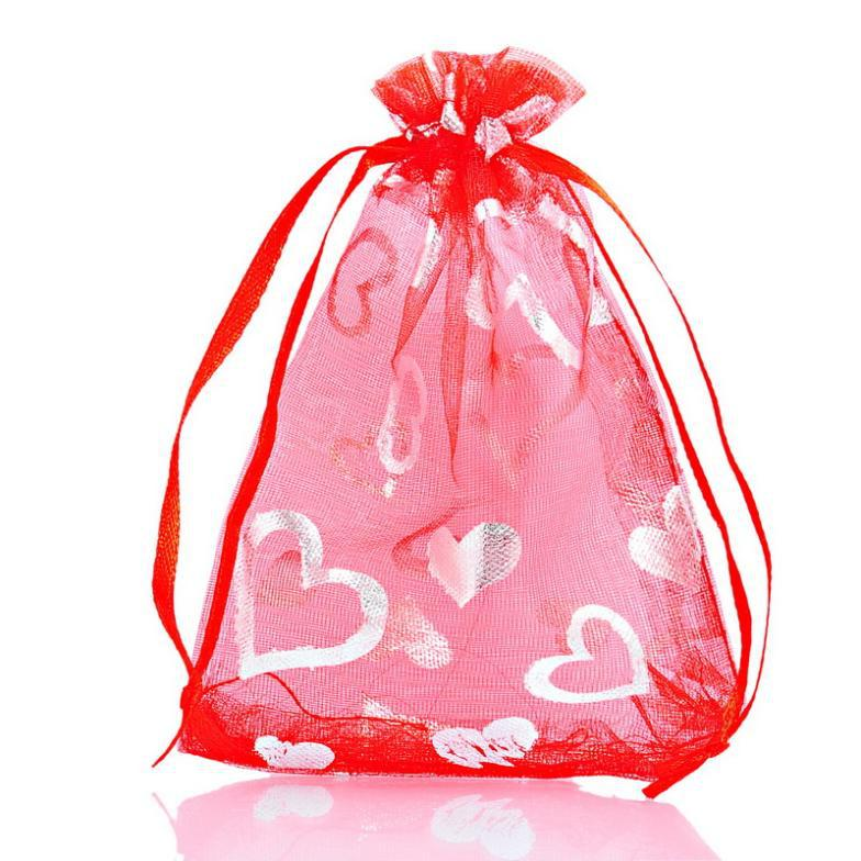 Red Wedding Gift Bags : 25PCs 9x12cm Red Heart Organza Gift Bags Pouches Bags&Pouches Wedding ...