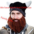Novelty Men Children Family Party Handmade Cartoon Vikings Horn Hat Bearded Face Mask Xmas horn Father and Child Hat BZ870771
