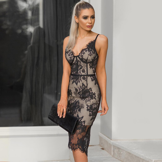 Seamyla New Sexy Nightclub Lace Dresses Vestidos Women Bandage Dress Elegant Summer Black Khaki Sleeveless Evening Party Dress