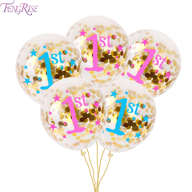 FENGRISE 1st Birthday Balloons Blue Pink Baby Shower Party Decoration 1 One Year Confetti Balloon