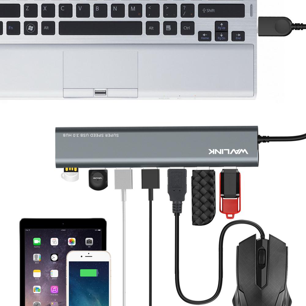 Prix pour Portable USB 3.0 En Aluminium à 7-Port USB 3.0 Données Hub 5 Gbps 5 v wavlink pour ordinateur portable pc avec uk/us/ue plug power adaptateur