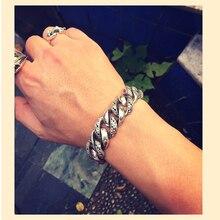 Real 925 Sterling Silver Men Bracelets Plant Totem Wide 18 Punk Rock Vintage Heavy Thai Silver Bracelet Male Luxury Jewelry Gift недорого