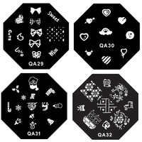 60 スタイル八角形ステンレス鋼 QA シリーズネイルアートステンシルテンプレート印刷イメージプレートパレット 3d ネイルモールド