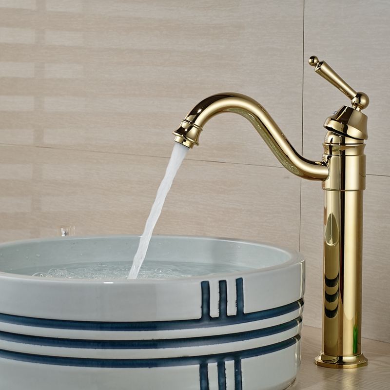Wholesale And Retail Solid Golden Brass Bathroom Basin Faucet Swivel Spout Vanity Sink Mixer Tap Deck Mounted free shipping wholesale and retail water tap black antique brass bathroom basin faucet tap swivel spout vanity sink mixer