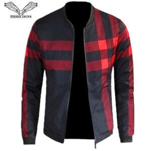 Image 1 - VISADA JAUNA 2020 Neue Ankunft männer Jacken Patchwork Casual Marke Kleidung Stehen Kragen Langarm Männlichen Outwear 5XL Plaid mantel