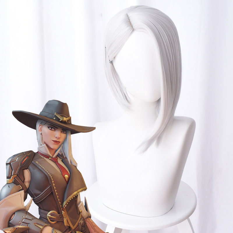 Game OW Ashe Cosplay Wig OW ASH Costumes Silver White Short Side Parting Styled Synthetic Straight Wigs Women Hair