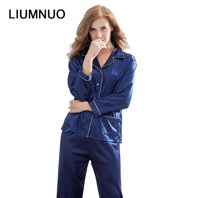 60a8178891 New Arrival Satin Pajamas Set Womens Sleepwear 2 Pieces Full Sleeve Button- down Royal Blue Light Pink Silk Ladies Set Summer