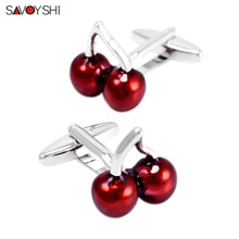 SAVOYSHI Fashion Mens Shirt Cufflinks High Quality Red Enamel Cherry Cuff Link Brand Wedding Groom Gift Jewelry Free custom name